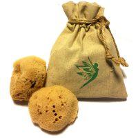 Ongebleekte, Natuurlijke Mediterraanse Sponzen - 2 Natuurlijke Intiem sponsjes - Puur en Absorberend - Met GRATIS natuurlijk hennep opberg tasje